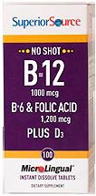 B-12 1,000 mcg / B-6 / Folic Acid / Vitamin D 1,000 IU