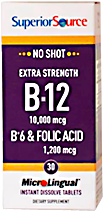 No Shot Methylcobalamin B-12 10,000 mcg / B-6 / Folic Acid 1,200 mcg