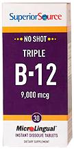 No Shot Triple B-12 3,000 mcg / B-6 / Folic Acid