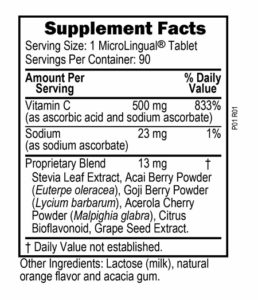 "Vitamin C, 500 mg ""Tangy"" Orange Melts label"